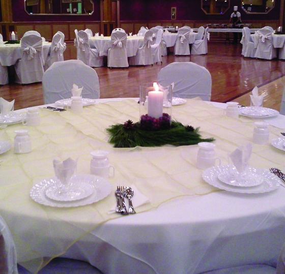 Dining in the grand ballroom