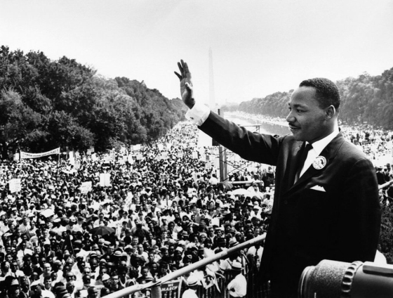 Martin Luther King Jr. addresses the huddled, tired masses at the March on Washington
